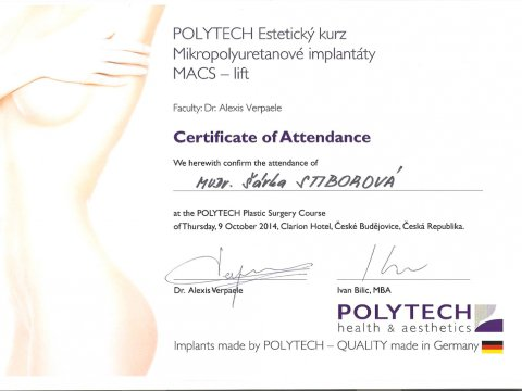 POLYTECH Estetický kurz Mikropolyuretanové implantáty MACS - lift